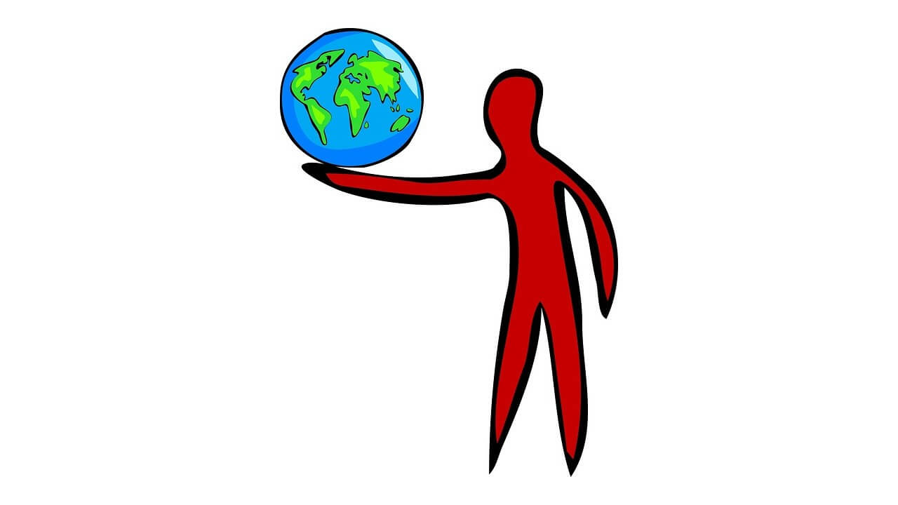 Sketch of a person holding the earth